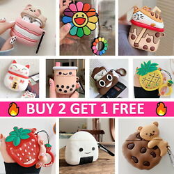 AirPods Cute Animal Food Cartoon Silicone Case Skin Cover for Apple Airpods $7.99