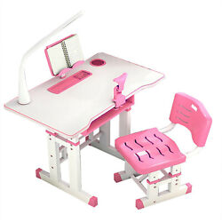 Adjustable Height Desk and Chair Set Student Child Kids Study Table w LED Light $88.88