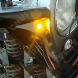 Motorcycle Chopper Bobber Turn Signal Light Small Amber LED Black DOME 4X Yellow $15.88