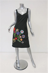 Moschino Cheap amp; Chic Dress Crystal Flower Embellished Black Cotton Size 8 $268.00
