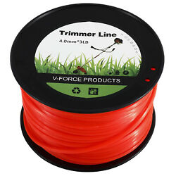 1 Spool of 0.155 Red Commercial String Trimmer Line Square Shaped Nylon String