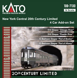 Kato N Scale NY Central 20th Century Limited 4 Passenger Car Add on Set 1067130 $107.69