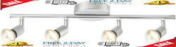 Adjustable Track Lighting Kit 4 Light Dimmable LED Fixtures Silver BRAND NEW