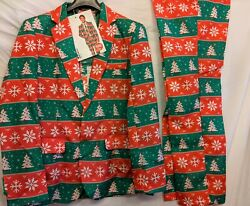 Men#x27;s Tacky Novelty Christmas Holiday suit with tie sz M amp; L New with tags $18.99