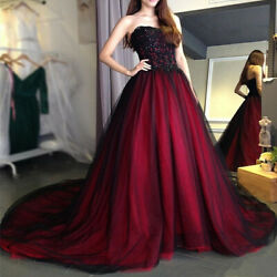 Black and Burgundy Gothic Wedding Dresses Strapless Lace Beaded Tulle Ball Gown