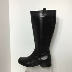 Clarks Womens Boots Black Leather Knee High Zip Up 9 M $32.00