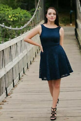 SPEECHLESS ELEGANT SEXY PARTY LACE SKATER DRESS NAVY SZ S $10.00