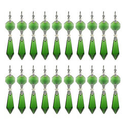 20 Green Chandelier Glass Crystals Lamp Prisms Parts Hanging Pendants Decor 38MM $12.26
