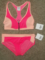 Everlast Women#x27;s Zipper Front 2 pc. Bikini Swimsuit size: Medium Fuschia $25.99