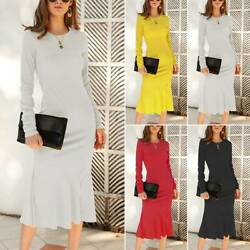 Womens Plain Ruffle Long Sleeve Jumper Dress Casual Party Dresses Knit Sweater $27.54