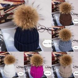 Bobble Hat Ball Women Knit Hat Beanie Pom Ski Cap Winter