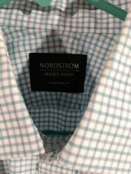 Nordstrom Traditional Fit 100% Cotton Mens Dress Shirt 15.5 36 37 Blue Green $13.00