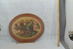 antique tole toleware painted hanging 22.5 x 18.5 in fruit flowers 19th c 1850 $190.00