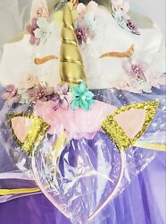 Unicorn Party Girls Birthday Dress Princess Kids Long Tulle Gown and Headband $16.79