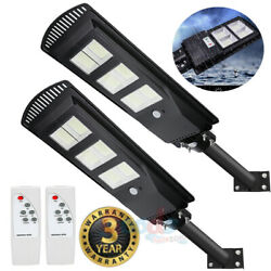 2x 900000LM 250W Solar Street Light 576LED Commercial Dusk to Dawn LampPole