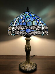 "Tiffany Style Table Lamp Sea Blue Stained Glass Dragonfly Antique Vintage H19"" $105.99"