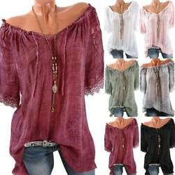 Women Lace Up Solid Short Sleeve Tops Blouse Boho Loose Fit Tunic T shirt Tunic $14.49