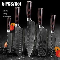 5 Piece Kitchen Knives Set Stainless Japanese Damascus Pattern Steel Chef Knife $51.99