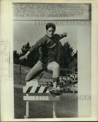 1975 Press Photo Snowshoe running record holder Marc Nadeau practices hurdles. $14.99