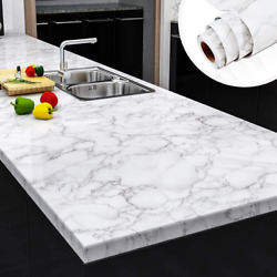 Yenhome Faux Marble Peel and Stick Countertops 24quot; x 118quot; White Gray Marble $30.74