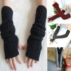 Long Sleeves Arm Warmers Mittens Cable Knit Women Winter Warm Fingerless Gloves $8.92