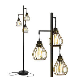 Brightech Teardrop Standing Floor LED Light Lamp Pole with 3 Cage Heads Black $119.99