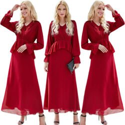 Fashion Women#x27;s Chiffon Long Sleeve Maxi Dress Abaya Muslim Evening Party Gown $38.90