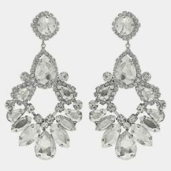 Extra Large Clear Crystal Chandelier Earrings Drag Queen Pageant $13.49
