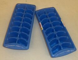 RUBBERMAID 2879 RD STACK amp; NEST ICE CUBE TRAYS SET OF TWO NEW BLUE FREE $6.49