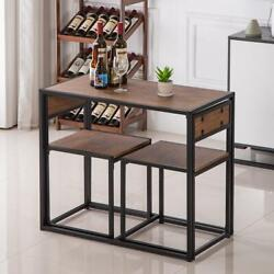 Small Table And 2 Chairs Breakfast Bar Kitchen Dining Room 3 Piece Furniture Set $113.89