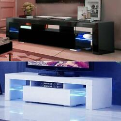 High Gloss TV Unit Cabinet Stand with LED Lights Shelves Home Furniture $121.90