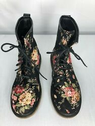 Deb womens boots size 6 black w multi color flowers lace up preowned $22.99