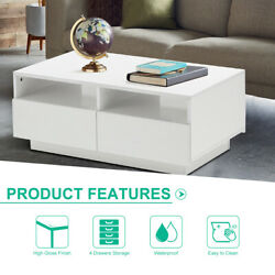 34quot; Modern High Gloss LED Coffee Table w Drawer End Table Living Room Furniture $155.96