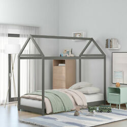 Gray Twin Size Wooden House Shaped Bed Frame Platform Bed Bedroom For Children#x27;s $285.99