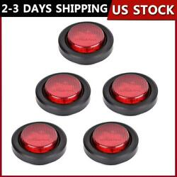 5PCS Red 2quot;inch Round 9 LED Side Marker Clearance Truck Trailer Light w Grommet