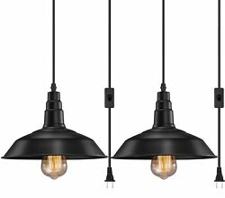 2 Pack Plug In Hanging Lamps Pendant Ceiling Light Shade Pendant Light Fixture $53.99