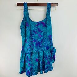 NOS Vintage Colony Swimsuit Sz 24W Teal Purple Skirted Womens 1980#x27;s One Piece $25.49