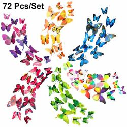 72 Pcs Set 3D Butterfly Wall Stickers Children Room Decal Home Decoration Decor $7.98