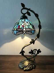 """Enjoy Tiffany Style Table Lamp Dragonfly Green Blue Stained Glass Antique 20.5""""H $125.99"""