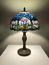 """Enjoy Tiffany Style Table Lamp Stained Glass Tulips Flower Antique Vintage 19""""H $109.99"""