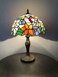 """Enjoy Tiffany Style Table Lamp Stained Glass Humming Flower Antique Vintage 19""""H $107.99"""