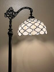 """Enjoy Tiffany Style Floor Lamp Crystal Beans Stained Glass Vintage H62.5"""" $169.99"""