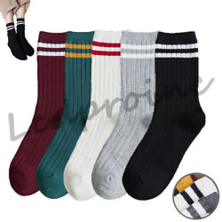 1 3 Pairs Women Socks Striped Cotton High Ankle Stocking Breathable Crew Sock $4.91