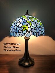 """Enjoy Tiffany Style Table Lamp Stained Glass Flower Antique Vintage W12""""*H19"""" $119.99"""