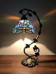 """Tiffany Style Table Lamp Dragonfly Sky Blue Stained Glass Antique Vintage 20.5""""H $115.99"""