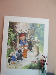 vintage illustration of Gnome giving medicine to animals by Tony Wolf 1984 $19.50