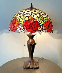 """Enjoy Tiffany Table Lamp Stained Glass Rose Flower Antique Vintage W16""""*H24"""" $189.99"""