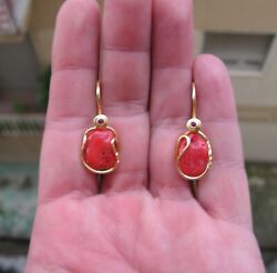 Silver Gold Natural Coral amp; Red Chandelier Dangle Earrings $86.71