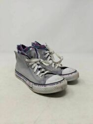 Converse Chuck Taylor All Star Girls Sneakers Gray 645160F Lace Up Zipper 1 M $9.99