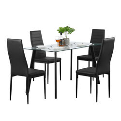 5 Piece Dining Table Sets Glass Metal 4 PU Leather Chairs Kitchen Room Furniture $218.49